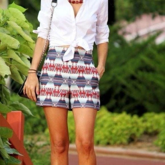 3c8cbaca07 Zara Women's Aztec High Waisted Shorts NWT